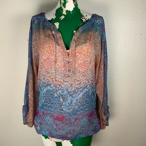 Diane Von Furstenberg Sheer Layered Top size 12